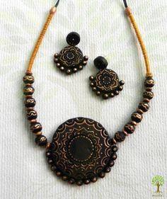 Black Sundial #Terracotta #Necklace #jewellery by #craftshopsindia