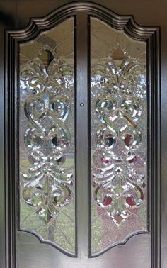 leaded glass bevel door windows by Jack McCoy© custom glass design Etched Glass Windows, Stained Glass Door, Stained Glass Birds, Glass Panel Door, Stained Glass Patterns, Leaded Glass, Beveled Glass, Glass Panels, Mosaic Glass