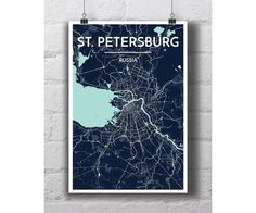 St Petersburg Russia  City Map Print by PointTwoMaps on Etsy