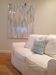 "Blues, whites, gold abstract art by Jenn Meador 48""x60"" on canvas the ""Leigh"". Email to purchase jennmeadorpaint@gmail.com"