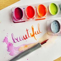 Did you know you can use water colors for calligraphy ink? Just wet a brush with water and paint and deposit into your nib!