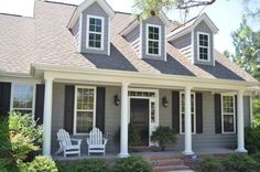 Red Door White Frame On Dark Blue House Love This Home