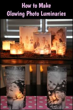 Arts and crafts videos. make these photo luminaries and display your precious photos the best way. Diy Photo, Photo Craft, Photo Candles, Diy Candles, Home Crafts, Diy And Crafts, Arts And Crafts, Wine Bottle Crafts, Mason Jar Crafts