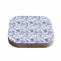 "Alisa Drukman ""Blue Seashells"" Coastal Abstract Coasters (Set of 4)"