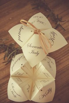 Items similar to Calligraphy Cootie Catcher Wedding Program on Etsy, The Original Tied Cootie Catcher Programs by Alchemy Hour Designs! The cootie catcher programs are a truly unique wedding program design, and make a . Unique Wedding Programs, Creative Wedding Invitations, Unique Weddings, Wedding Stationery, Romantic Weddings, Wedding Cards, Diy Wedding, Wedding Events, Rustic Wedding