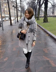 Grey, white and black fall/winter outfit