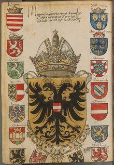 Coat of arms of Maximilian I, Holy Roman Emperor. Sammelband mehrerer Wappenbücher, Süddeutschland (Augsburg ), 1530.