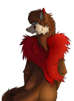 Revi Wolfe is a fire red wolf with a guardian soul called Renova. He is helpfull and kind.  He is able to transform in a human being.  Revi is my first (goodsided) fursona.