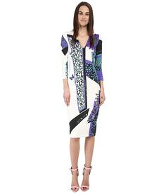 Just Cavalli 3/4 Sleeve V-Neck Printed Dress at 6pm.com