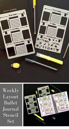 This stencil set would make creating weekly layouts in my bullet journal so quick and easy! #affiliate #bujo #bulletjournal #planner