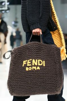 Fendi Menswear Fall Winter 2020 Milan - Reality Worlds Tactical Gear Dark Art Relationship Goals Knit Fashion, Fashion Bags, Mens Fashion, Runway Fashion, Fashion Menswear, Fashion Trends, Moda Crochet, Big Knits, Big Bags