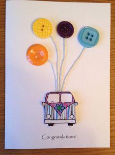 Campervan congratulations card handmade on Etsy, £4.00