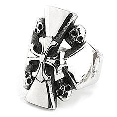 "EnM Jewelry Men's Stainless Steel Ring Fleur de lis Cross Skulls Comfort Silver/Black Biker 1.1"" Wide 10"