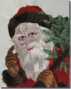 Victorian Santa Collection #7  Santa comes in many versions & styles from all over the world & through the years. Many favorite these Victorian Santas. They seem to have many different expressions! These Santa's take advantage of the full hoop size as much as possible. When necessary the 4x4 versions will be split. This is noted on the designs when you click on *Check Sizes* at our site. Purchase 1, 2 or all 8 Santa's at a Special Savings.