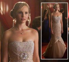 Caroline's prom dress on The Vampire Diaries.  Outfit Details: http://wornontv.net/14231/ #TheVampireDiaries