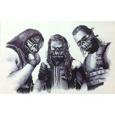 The Shield: Dean Ambrose (L), Roman Reigns (M) and Seth Rollins (R)