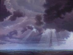 """Derazell"" by Jerry Moon Fine Art-Oil-Landscape-Painting-Kansas City, Missouri-Midwest-Sky-Clouds-Storm-Grey-Violet-Green-Dramatic-Rain-Flint Hills"