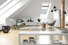 Maximise Daylight with Attic Windows - VELUX windows in an open plan loft conversion in white theme with wooden touches and minimalist decor One Room Apartment, Attic Window, Attic Conversion, Loft Spaces, Minimalist Decor, Attic Loft, Open Plan, Modern Contemporary, House