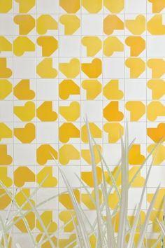 Inspired by Oscar Neimeyer - tiles - pattern - geometric - wall - mural - springtime - shapes - yellow - white darkroomlondon.com/