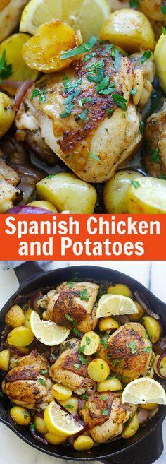 Spanish Chicken and Potatoes - Crazy delicious one-pot Spanish chicken and potatoes bake with onions, garlic, and paprika. So good   rasamalaysia.com