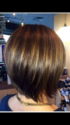 Graduated bob with Caramel highlights to compliment her natural dark brunette color.