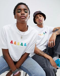 Find the best selection of ASOS DESIGN x glaad& relaxed t-shirt with embroidery. Shop today with free delivery and returns (Ts&Cs apply) with ASOS! People Photography, Photography Poses, Graphic Tee Outfits, Editorial, Create T Shirt, Fashion Poses, Calvin Klein Underwear, Streetwear Fashion, Me Too Shoes