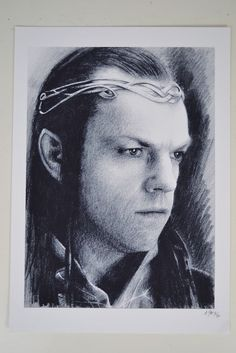 ORIGINAL 2004 A. FRY LORD OF THE RINGS HOBBIT ELROND DRAWING PRINT LTD ED SIGNED