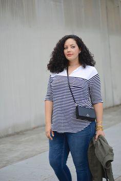 (plus size) Skinny Jeans, Stripe Top, Utility Jacket, Stud Flats