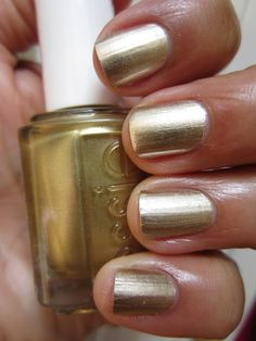 @ Karen Giacomarro, I checked my nail polish and it is Essie.This one to be exact!The Queen of the Nail: Essie Mirror Metallics - Good As Gold Nail Polish Gold Nail Polish, Gold Nails, Nail Polish Colors, Essie Polish, Metallic Nails, Matte Gold, Metallic Gold, Best Drugstore Nail Polish, Cute Nails