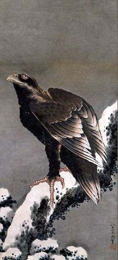 葛飾北斎 Katsushika Hokusai「雪中鷹図」1843