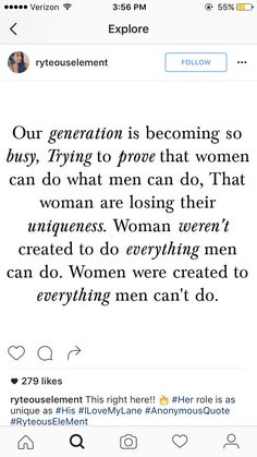 """Saw this on my explore page on IG. Women are not losing our uniqueness in this day & age. Unique means a different thing for all women & it is up to each one of us to define what kind of woman we want to be. I just hate seeing posts like these saying that our uniqueness is tied to traditional gender roles. If it empowers you, and it makes you happy then do it but don't do it because it's what women are """"supposed"""" to do."""