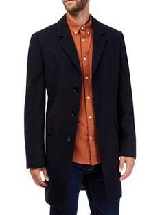 Burton Navy wool chesterfield coat | Debenhams
