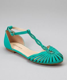 Another great find on #zulily! TOP MODA Teal Cage-Toe Sandal by TOP MODA #zulilyfinds
