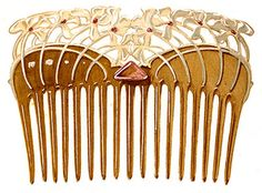 """Paul Follot, c. 1903, horn, translucent enamel, topaz. Although Follot is generally known as a French cabinet-maker and Art Deco designer, he studied with Eugene Grasset , a master of Art Nouveau. Follot worked from 1901 to 1903 for La Maison Moderne, a gallery run by the art dealer."""""""