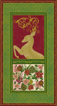 Paintbrush Studio Green Peace on Earth Large Christmas Fabric Panels with Metallic
