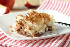 Creamy Apple Dessert - How many ways can you saw Wow! This Creamy Apple Dessert is easy to make, and even easier to eat! I used a lower-fat cream cheese, and it was sublime. Best Apple Recipes, Apple Dessert Recipes, Apple Crisp Recipes, Köstliche Desserts, Pie Recipes, Delicious Desserts, Dessert Food, Cheese Dessert, Cheese Bar