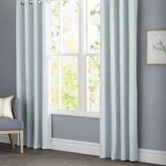 Andover Mills Gainer Basic Solid Blackout Thermal Grommet Curtain Panels Color: Sky Blue, Size: W x L Drapes And Blinds, Types Of Curtains, Short Curtains, Rod Pocket Curtains, Grommet Curtains, Drapes Curtains, Curtain Panels, Blackout Panels, Blackout Curtains