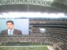 Our circuit overseer, Brother Hiura, at the international giving a talk. AT&T Stadium, Arlington, Texas