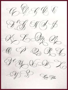 Chicano Lettering Alphabet for Tattoo Tattoo Lettering Styles, Graffiti Lettering Fonts, Hand Lettering Fonts, Creative Lettering, Typography, Copperplate Calligraphy, Calligraphy Handwriting, Calligraphy Letters, Calligraphy Drawing