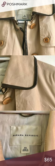 Banana Republic Trench Coat XS This is a classic Banana Republic Trench Coat in color tan with brown faux leather piping all around. It is size XS and has been nicely worn. Banana Republic Jackets & Coats Trench Coats