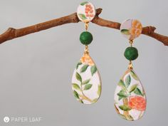 Paper Leaf | Porcelain Chinoiserie | handpainted paper earrings with carved howlite beads