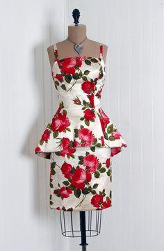 ~1950's Mr. Blackwell Rose Floral Print Velvet-Flocked Satin Cocktail  Dress~