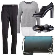 Pantaloni neri morbidi abbinati al maglioncino grigio ed è subito casual chic. Le stringate nere hanno il tacco alto per valorizzare la femminilità di chi le indossa e la borsetta nel colore della stagione:il biscay bay, è lucida.