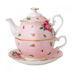 Royal Albert - 'New Country Roses' Collection - Pink Tea-for-One Set