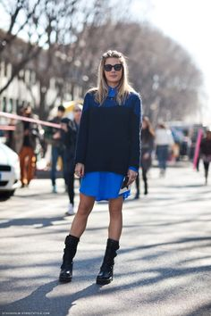 Navy over electric and black biker boots.