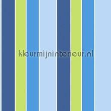 Groen blauwe strepen behang G45100 Noordwand