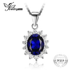 JewelryPalace British Kate Princess Diana William Engagement Wedding Blue Sapphire Pendant  No Necklace 925 Sterling Silver