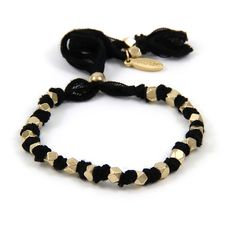 Adjustable Gold Beaded Black Vintage Ribbon Bracelet
