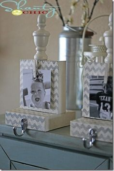 DIY stocking holders!  Hang a new picture every year...So cute!  You could also make these ( minus the bottoms) for your mud room so kids have a place to hang their coats, no confusing mornings anymore! #Christmas #thanksgiving #Holiday #quote