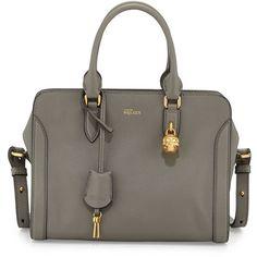 Alexander McQueen Small Padlock Satchel Bag ($1,640) ❤ liked on Polyvore featuring bags, handbags, dark gray, studded purse, top handle satchel handbags, top handle satchel, handbag satchel and studded satchel handbag